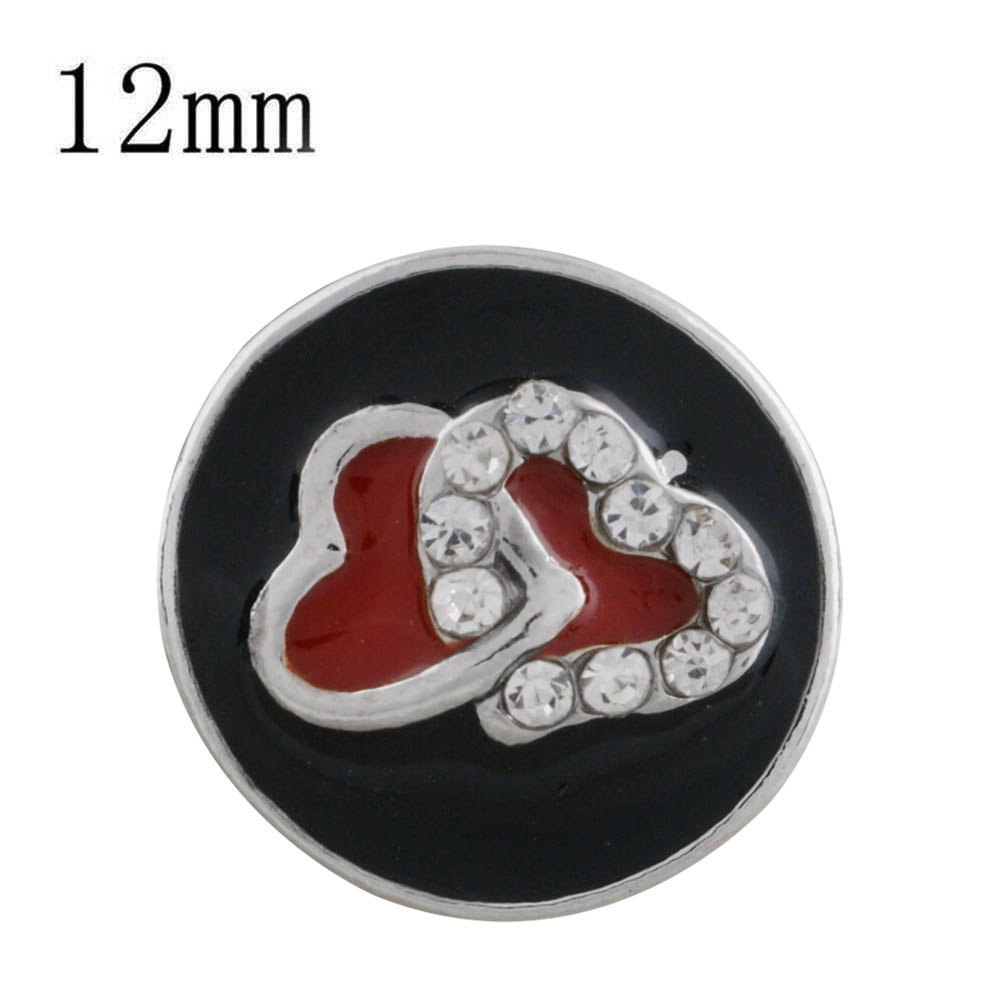 Mini 12mm Snap Jewelry Enamel - Intertwined Hearts