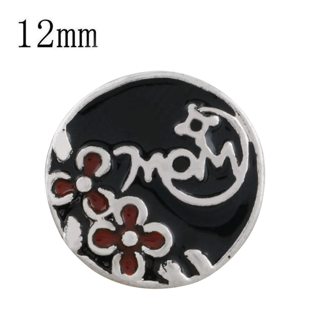 Mini 12mm Snap Jewelry Enamel - Mom with Flowers