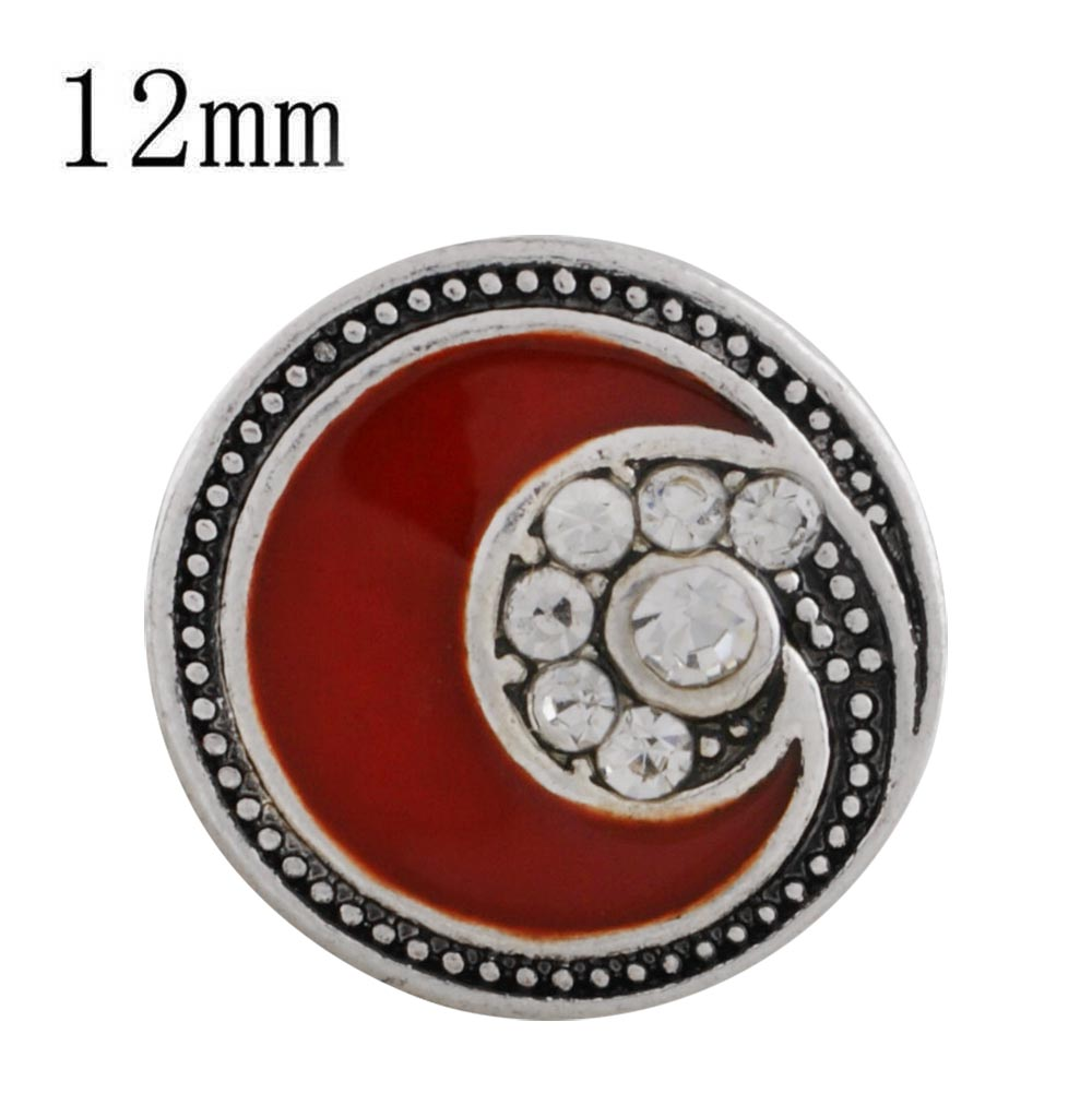 Mini 12mm Snap Jewelry Enamel - Red Swoosh