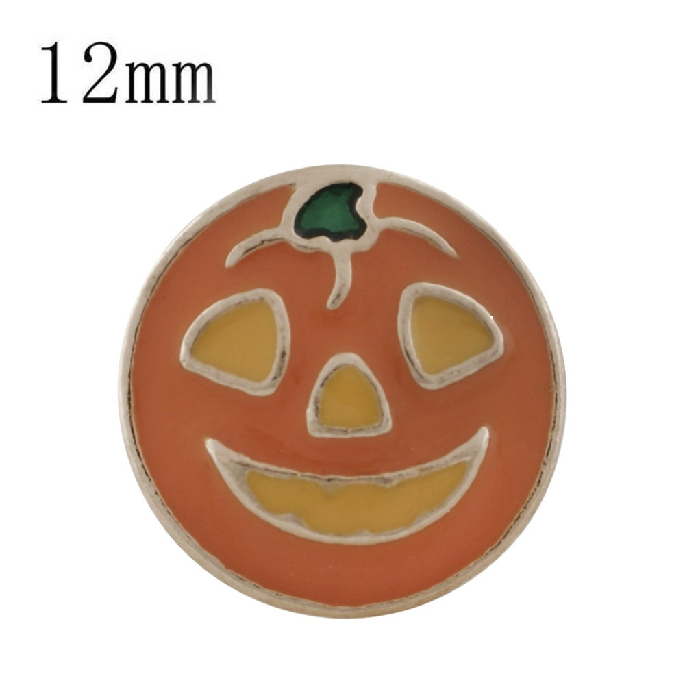 Mini Snap 12mm - Enamel Jack-O-Lantern Pumpkin