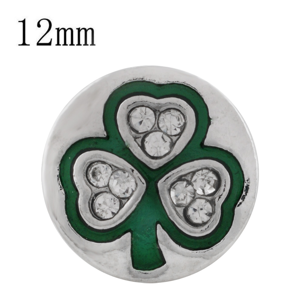 Mini 12mm Enamel - Rhinestone Shamrock