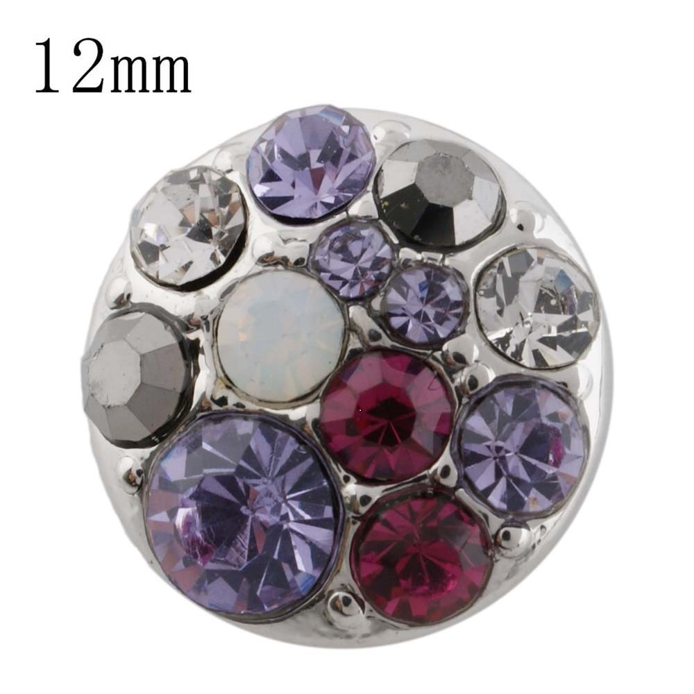 Mini 12mm Snap On Rose Gold - Cluster Shades of Purple