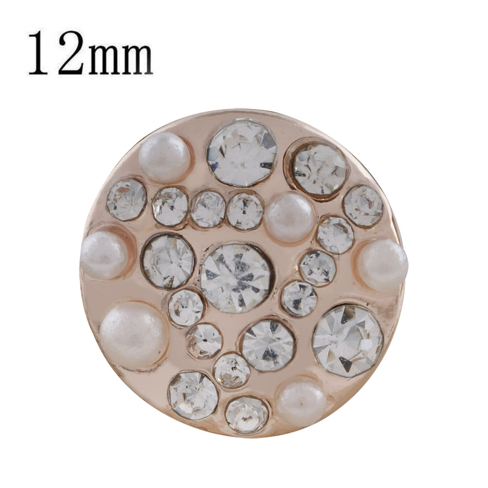 Mini 12mm Snap On Rose Gold - Clear CZ Cluster