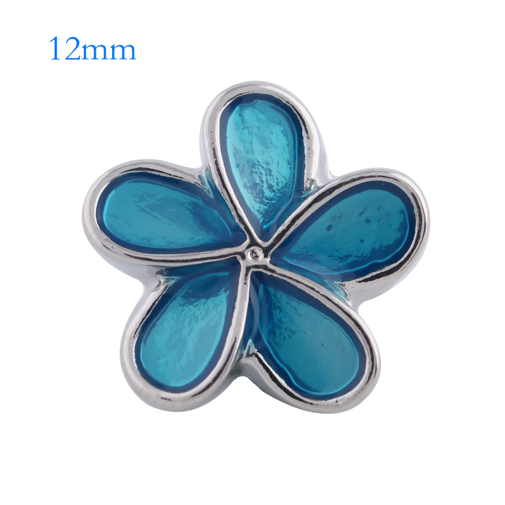 Mini 12mm Snap Jewelry Enamel Flower Blue