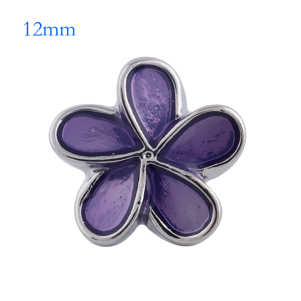 Mini 12mm Snap Jewelry Enamel Flower Purple