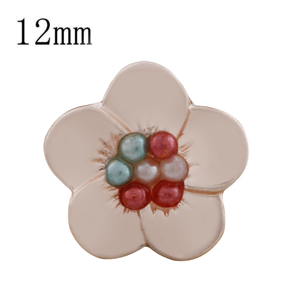 Mini Snap 12mm - Rose Gold-Tone Flower Colorful Beaded Center