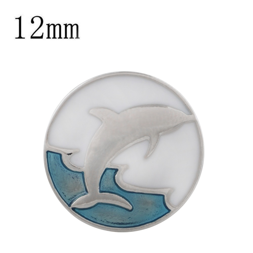 Mini 12mm Snap Jewelry Enamel - Dolphin Jumping