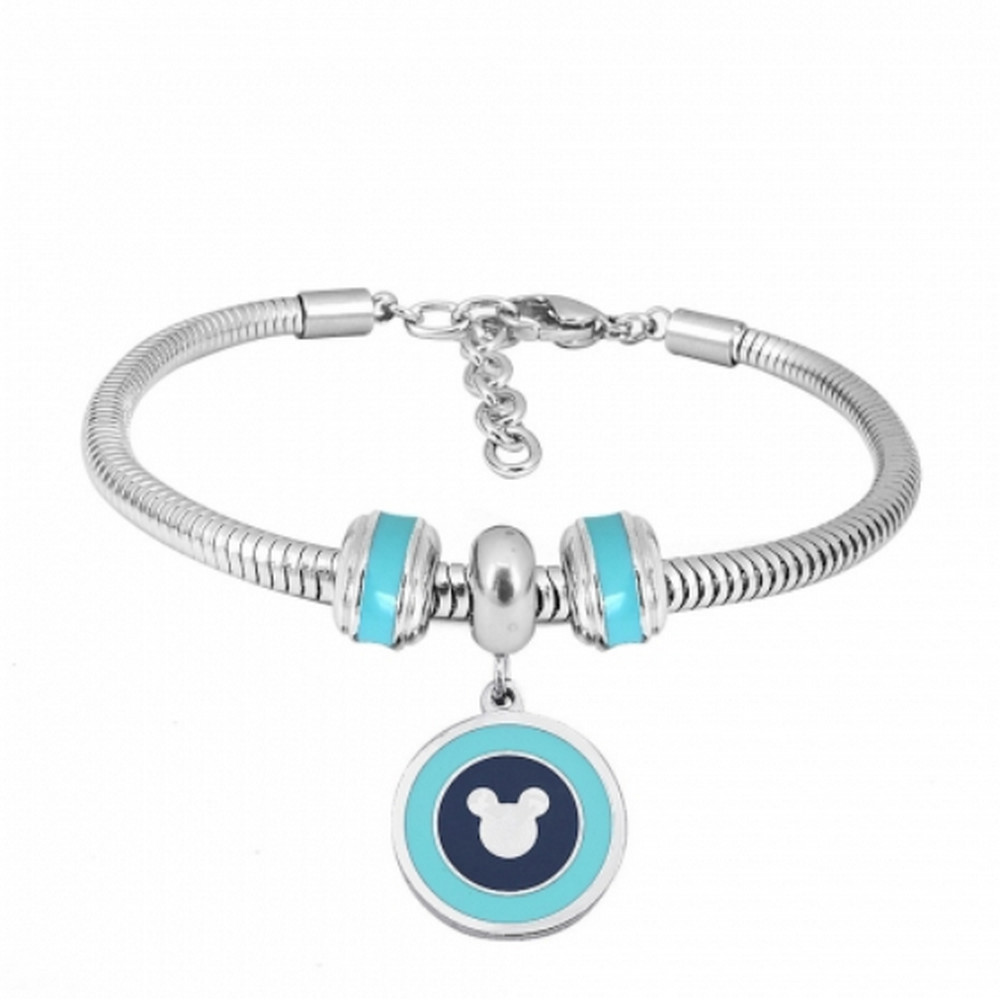 "Stainless Steel Charm Bracelet - Mouse Baby Blue 6.5"" + 1.5"" ext"