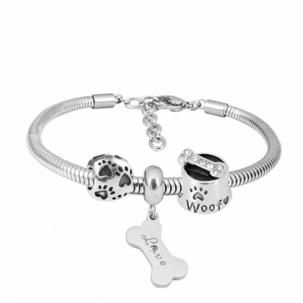 "Stainless Steel Charm Bracelet - 3 Dog Charms 6.5"" + 1.5"" ext"