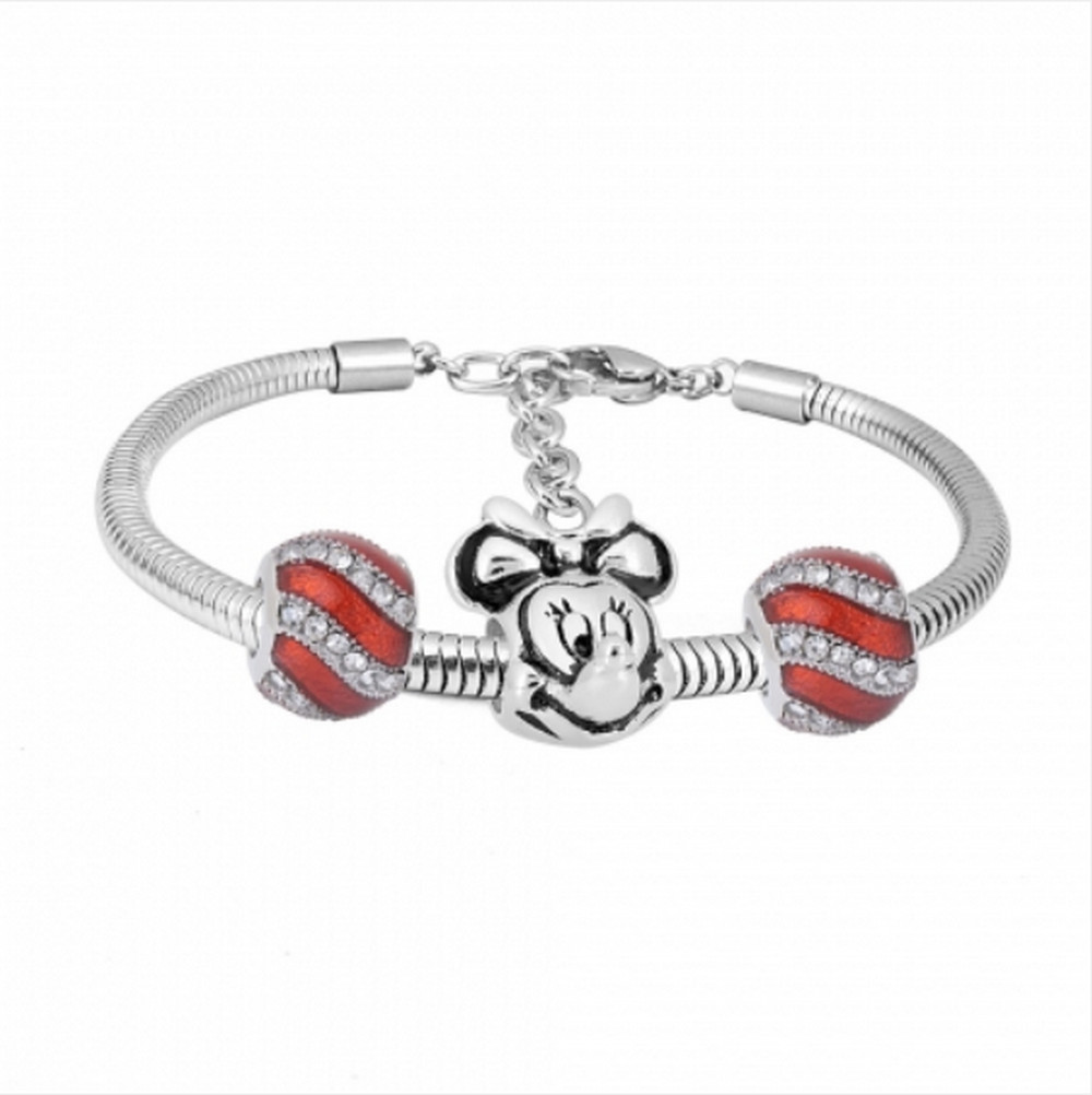 "Stainless Steel Charm Bracelet - Mouse 3 Charms 6.5"" + 1.5"" ext"