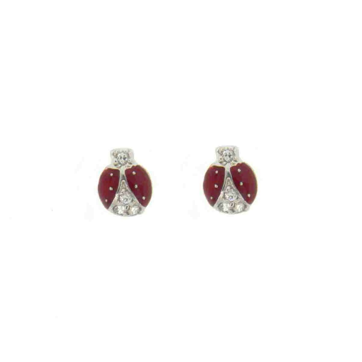 925 - Sterling - Ladybugs Clear CZ & Enamel Earrings
