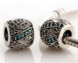 Charm 925 CZ Stone - Pave Barrel Teal & Clear