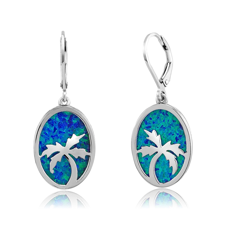 925 - Sterling - Palm Tree Opal Disk & Silver Earrings