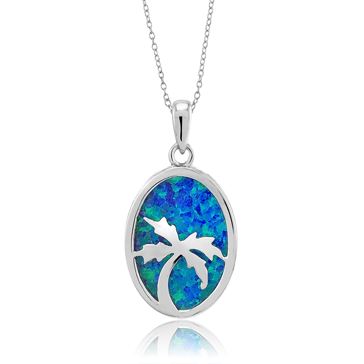 925 - Sterling - Palm Tree Small Opal & silver Pendant