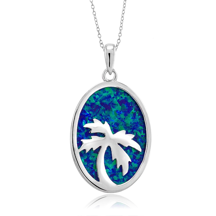 925 - Sterling - Palm Tree Opal Disk & Silver Large Pendant