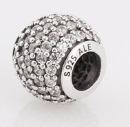 Charm 925 - Round Ball - Pave Clear