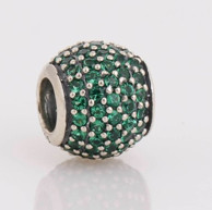 Charm 925 - Round Ball - Pave Green