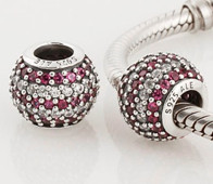Charm 925 - Round Ball - Pave Red & Clear