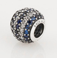 Charm 925 - Round Ball - Pave Blue & Clear
