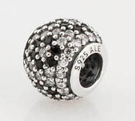 Charm 925 - Round Ball - Pave Black & Clear Flower