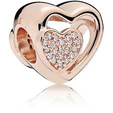 Charm 925 - Rose Gold Heart Joined Together