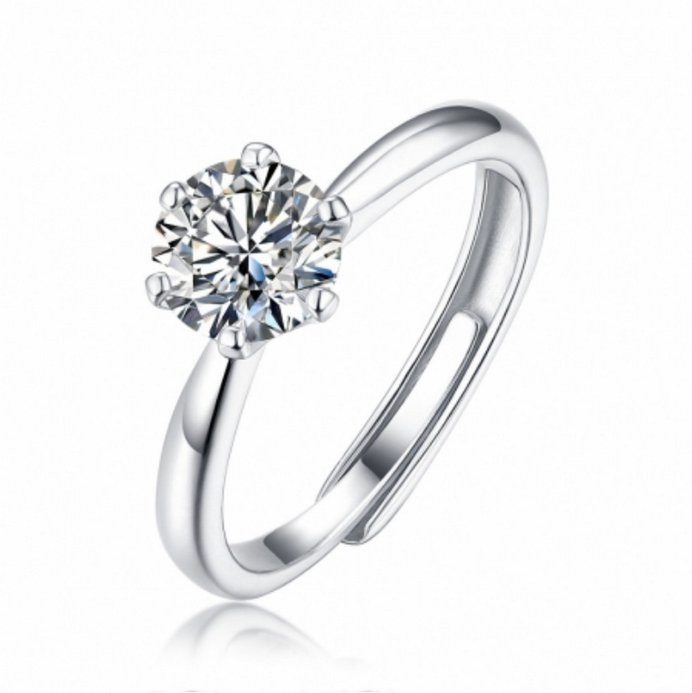 1 CT D 6.5mm Moissanite Diamond Solitary Classic Ring ADJ