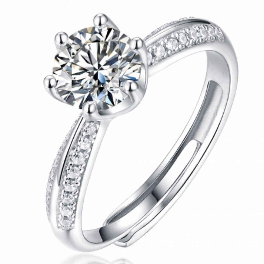 1 CT D 6.5mm Moissanite Diamond Classic Engagement Ring ADJ
