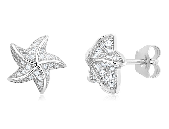 925 - Sterling - Starfish Micro 3D CZ Stud Earrings