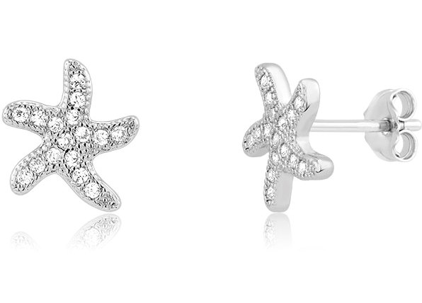 925 - Sterling - Starfish Pave CZ Small Earrings