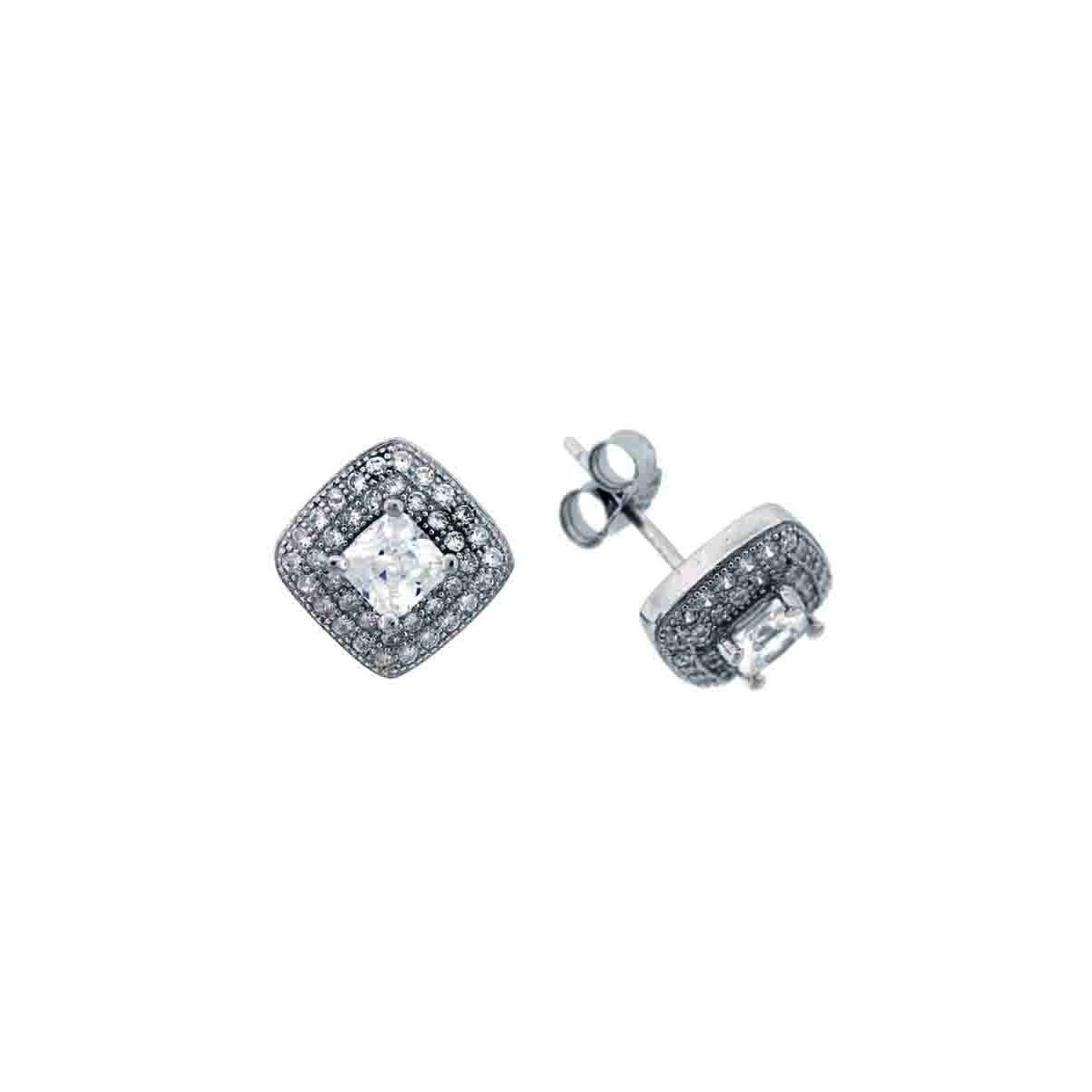925 - Sterling - Square 4*4 Emerald Cut Center CZ Stud Earrings