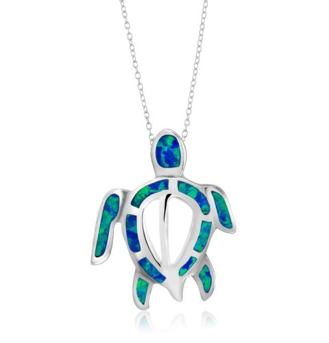 925 - Sterling - Turtle Opal Open Medium Pendant Blue