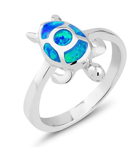 925 - Sterling - Opal Turtle Blue Ring - Size 7