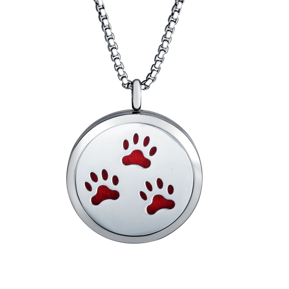 30mm Stainless Steel Essential Oil Diffuser Pendant - Paws