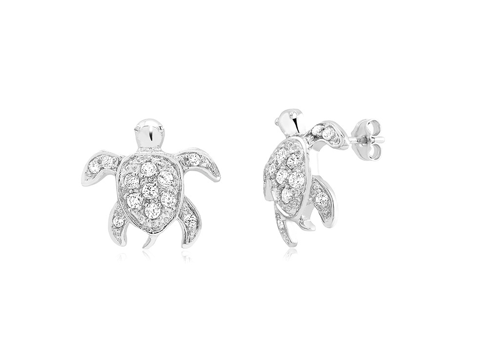 925 - Sterling - Turtle Small Clear CZ Earrings