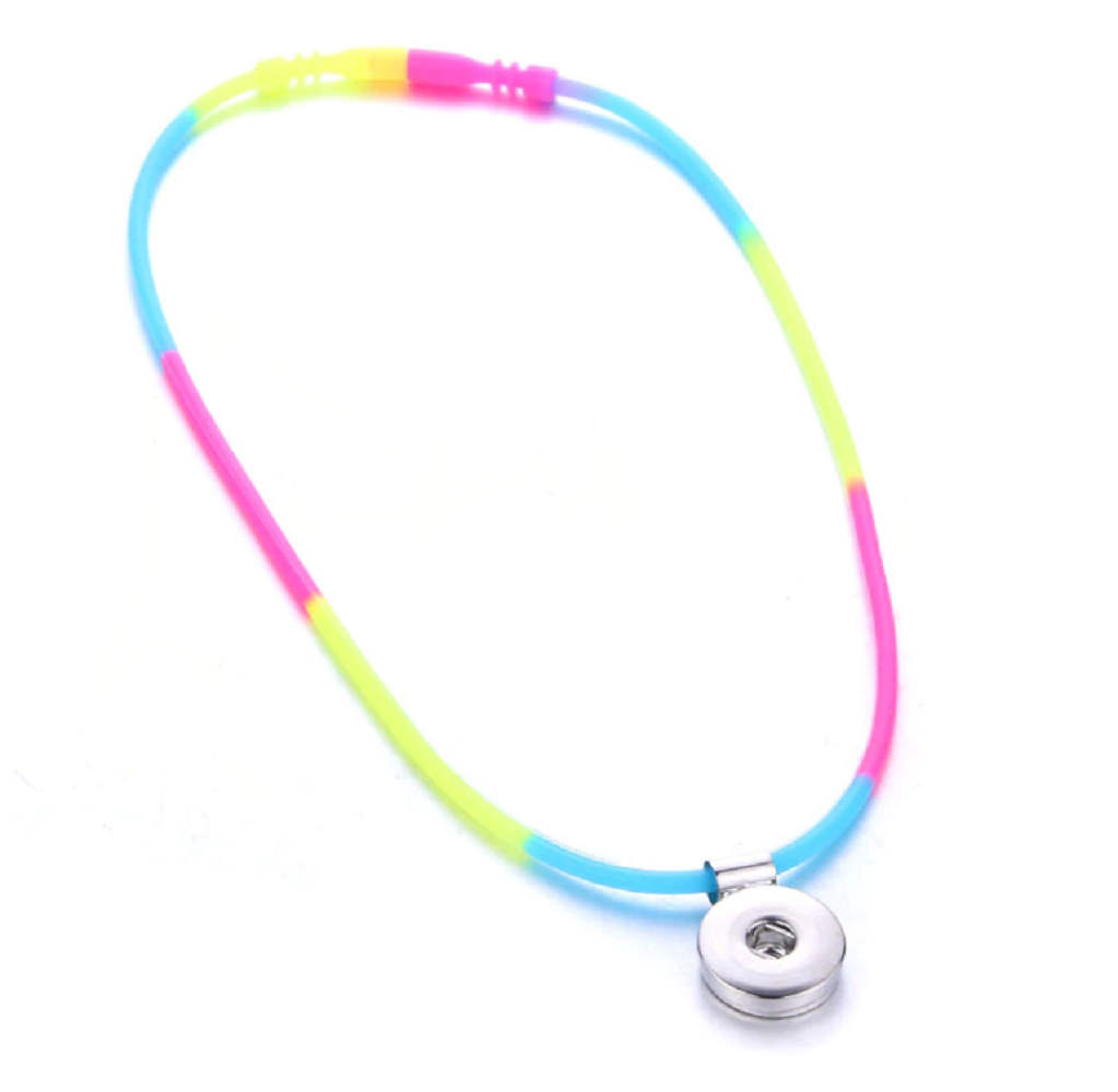 Children' Style Snap Silicon Necklace Rainbow - Holds 1 18-20mm