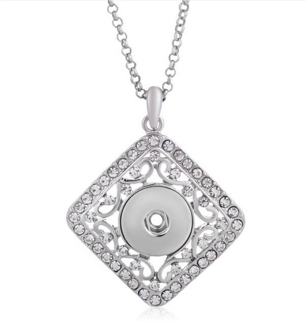 Snap Jewelry Tilted Square Rhinestone Scroll Stainless Necklace