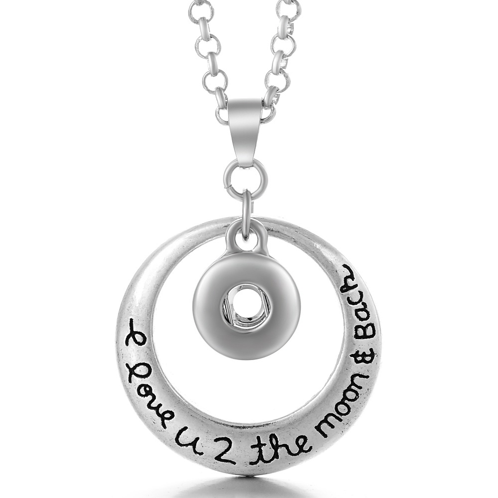 Mini 12mm Snap Stainless Necklace - I Love to Moon & Back Halo