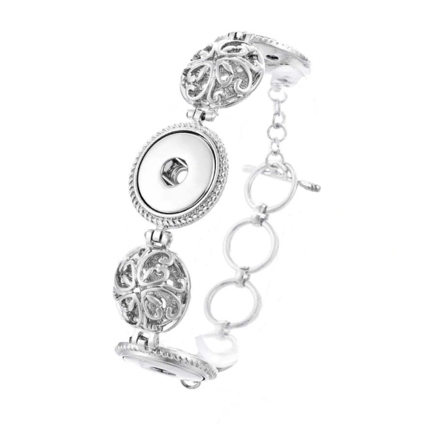 Snap Jewelry Toggle Bracelet Chain - Designer Swirls Triple