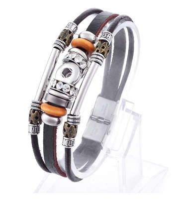 Mini 12mm Snap Leather Bracelet Hinge Lock Black Beaded Leather