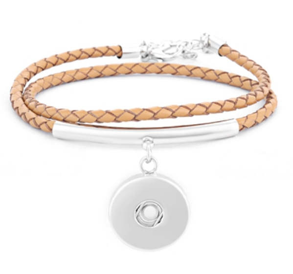 "Snap Jewelry Tan Leather Double Wrap Bracelet 14"" + 2.5"" Ext."