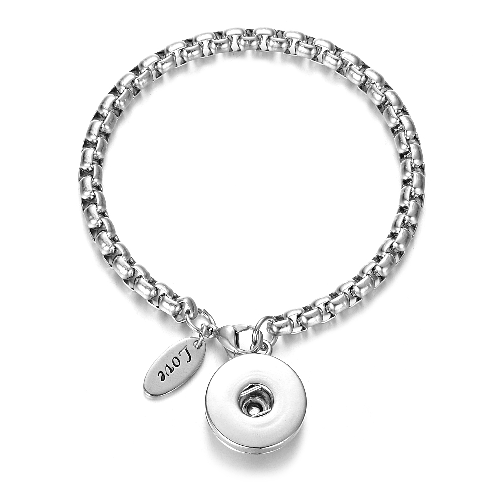 Snap Stainless Steel Bracelet Silver-Tone with Love Charm