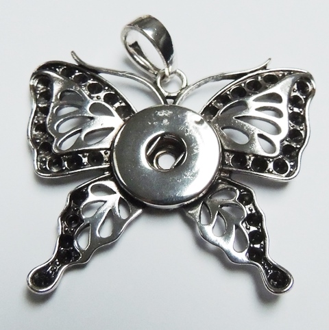 Snap Jewelry Pendant - Butterfly Antique Silver Black Edge