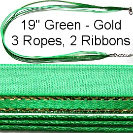 "18"" Two Tones Ribbon - Green & Gold Stripes"