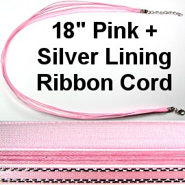 "18"" Two Tones Ribbon - Pink & Silver Stripes"