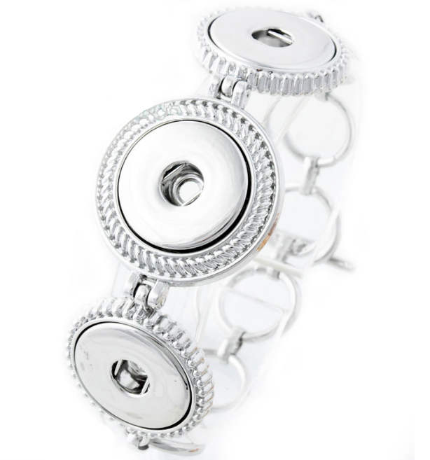 Snap Jewelry Toggle Bracelet Chain Strands - Triple Silver