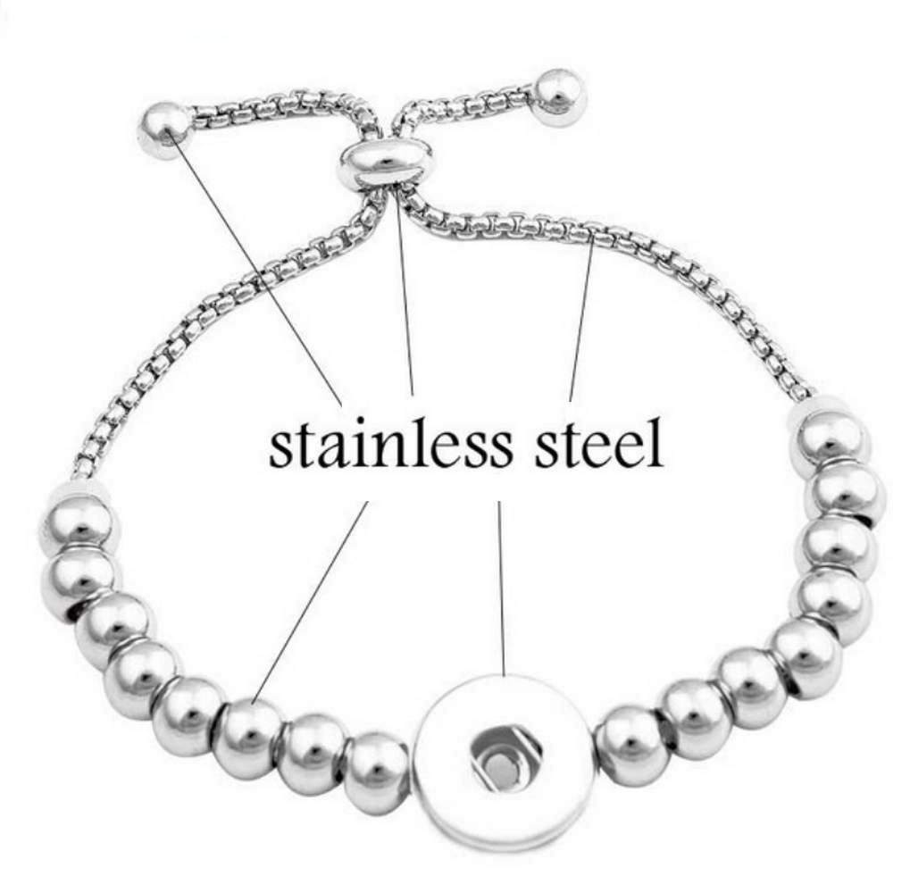 Snap Jewelry Adjustable Slider Bracelet - Stainless Steel Ball