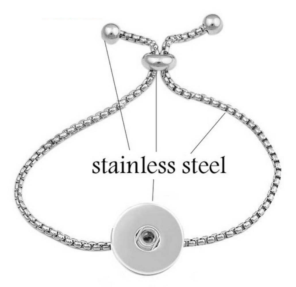 Snap Jewelry Adjustable Slider Bracelet - Stainless Steel