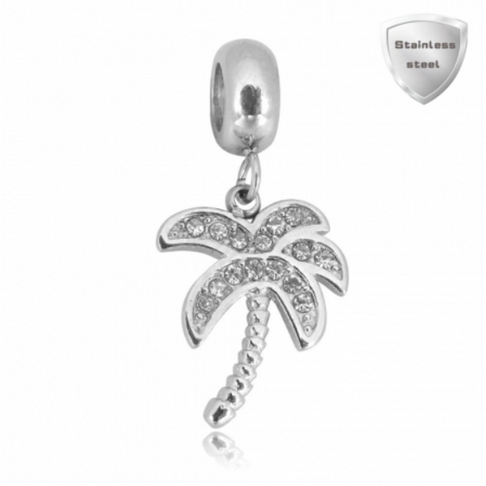 Stainless Charm - Crystal Drop Palm Tree