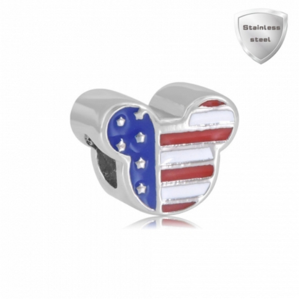 Stainless Charm - Enamel Patriotic Mouse US Flag Style
