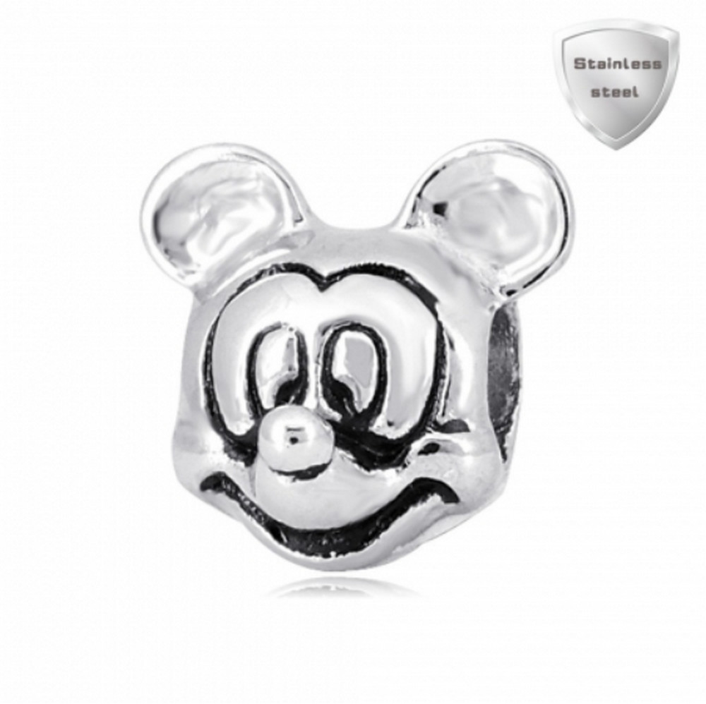 Stainless Charm - Solid Mouse Head